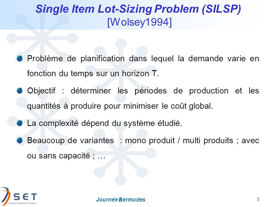 Single Item Lot-Sizing Problem (SILSP) [Wolsey1994]